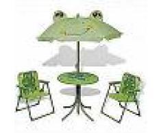 VidaXL Juego de mesa y sillas de jardín infantil con sombrilla verde