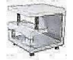 Bhp Mesa auxiliar con 4 ruedas MDF blanco brillante B154136