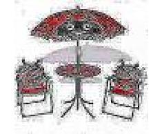 VidaXL Juego de mesa y sillas de jardín infantil con sombrilla rojo
