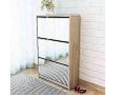 VidaXL Mueble zapatero de roble con 3 compartimentos con espejo