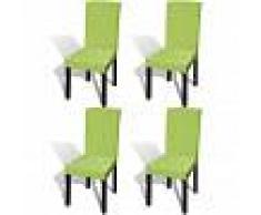 vidaXL Funda para silla elástica recta 4 unidades verde