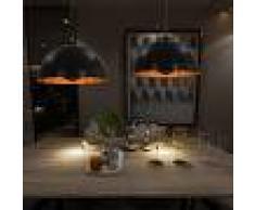 vidaXL Lámparas de techo 2 uds semiesféricas negro y dorado 40 cm E27
