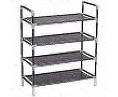 VidaXL Zapatero con 4 estantes de metal y textil no tejido negro