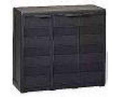 VidaXL Armario de jardín con 2 estantes negro