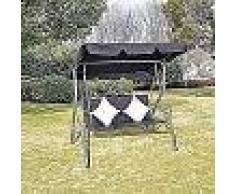 VidaXL Columpio De Ratán Para Jardín Con Dosel Negro