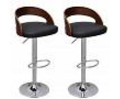 vidaXL Taburetes de bar marco de madera curvada altura ajustable 2 uds