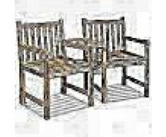 VidaXL Sillas de jardín 2 uds y agujero de sombrilla maderateca maciza