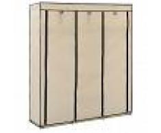 vidaXL Armario con compartimentos y varillas tela crema 150x45x175 cm