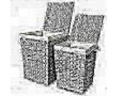 VidaXL Juego de cestos para la ropa 2 unidades de jacinto de agua