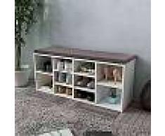 VidaXL Zapatero blanco en forma de banco con 10 compartimentos