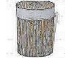 VidaXL cesto de colada oval de bambú color natural