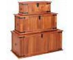 VidaXL Baúl de almacenamiento 3 piezas de madera maciza de acacia