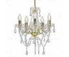 VidaXL Lámpara de araña con cuentas de cristal dorado redonda 5 x E14