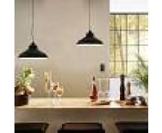 vidaXL Lámparas de techo 2 unidades redonda negro E27