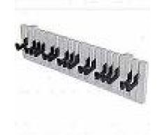 VidaXL Perchero para pared forma de teclado de piano 16 ganchos negros