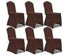VidaXL Funda de silla elástica 6 unidades marrón
