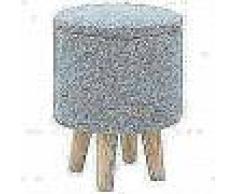 VidaXL Taburete con almacenaje tela redondo 24x32 cm azul