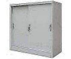 VidaXL Armario oficina con puertas correderas metal 90x40x90 cm gris