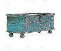 VidaXL Baúl de almacenamiento madera maciza de mango azul 100x40x41 cm