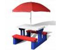 vidaXL Mesa de picnic para niños con sombrilla