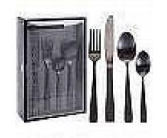Excellent Houseware Set de cubertería 16 piezas acero inoxidable negro
