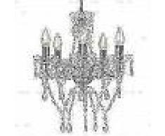 VidaXL Lámpara de araña con cuentas de cristal plateado redonda 5xE14