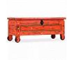 VidaXL Baúl de almacenamiento de madera maciza de mango rojo 101x39x42 cm