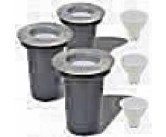 VidaXL Focos LED empotrables de suelo de jardín redondos 3 unidades