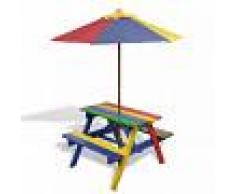 vidaXL Mesa de picnic y bancos para niños con sombrilla 4 colores