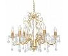 vidaXL Lámpara de araña con cuentas de cristal dorado redonda 6 x E14
