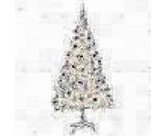 VidaXL Árbol Navidad artificial decorado bolas luces LED 210 cm blanco