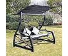 VidaXL Columpio de jardín negro 167x130x178 cm poli ratán