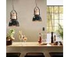 vidaXL Lámparas de techo 2 unidades redondas negro E27