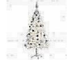 VidaXL Árbol Navidad artificial decorado bolas luces LED 180 cm blanco