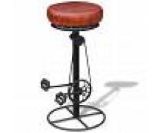 vidaXL Taburete de bar en cuero con pedales de bicicleta marrón y negro