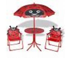 vidaXL Set mesa y sillas de jardín infantil 3 pzas con sombrilla rojo