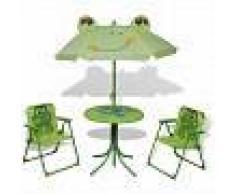 VidaXL Set mesa y sillas de jardín infantil 3 pzas con sombrilla verde