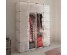 vidaXL Armario modular 14 compartimentos blanco 37x146x180,5cm