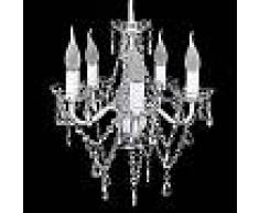VidaXL Lámpara araña de techo con cristales transparentes, 5 bombillas