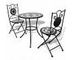 VidaXL Juego de mesa y sillas de jardín con mosaico 60 cm negro/blanco