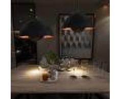 vidaXL Lámparas de techo 2 uds semiesféricas negro y dorado 30 cm E27