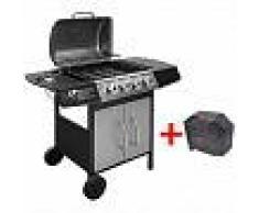 VidaXL Barbacoa grill de gas 4+1 quemadores negra y plateada
