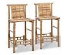 vidaXL Taburetes de bar 2 unidades de bambú