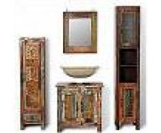 VidaXL Mueble de baño de madera reciclada con espejo y dos armarios laterales