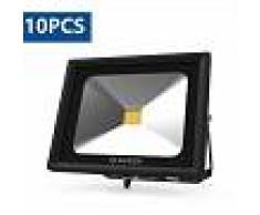 10X Foco Proyector Led 50w Luz Fría, Foco Led Exterior 6000K IP65