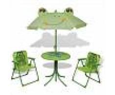 vidaxl Juego de mesa y sillas de jardín infantil con sombrilla verde - VIDAXL