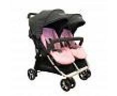 BebéDue Silla de Paseo Gemelar DUAL 0+ BebeDue Negra y Rosa