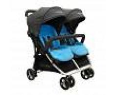 BebéDue Silla de Paseo Gemelar DUAL 0+ BebeDue Negra y Azul Claro