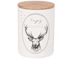 Tarro de cerámica blanca con ciervo estampado y tapa de bambú