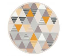 Mantel individual redondo con motivos decorativos y gráficos multicolores